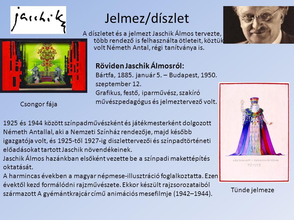 Jelmez/díszlet Tünde jelmeze Csongor fája Röviden Jaschik Álmosról: Bártfa, 1885.