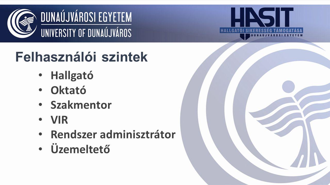 Hallgató Oktató Szakmentor VIR Rendszer adminisztrátor Üzemeltető Felhasználói szintek