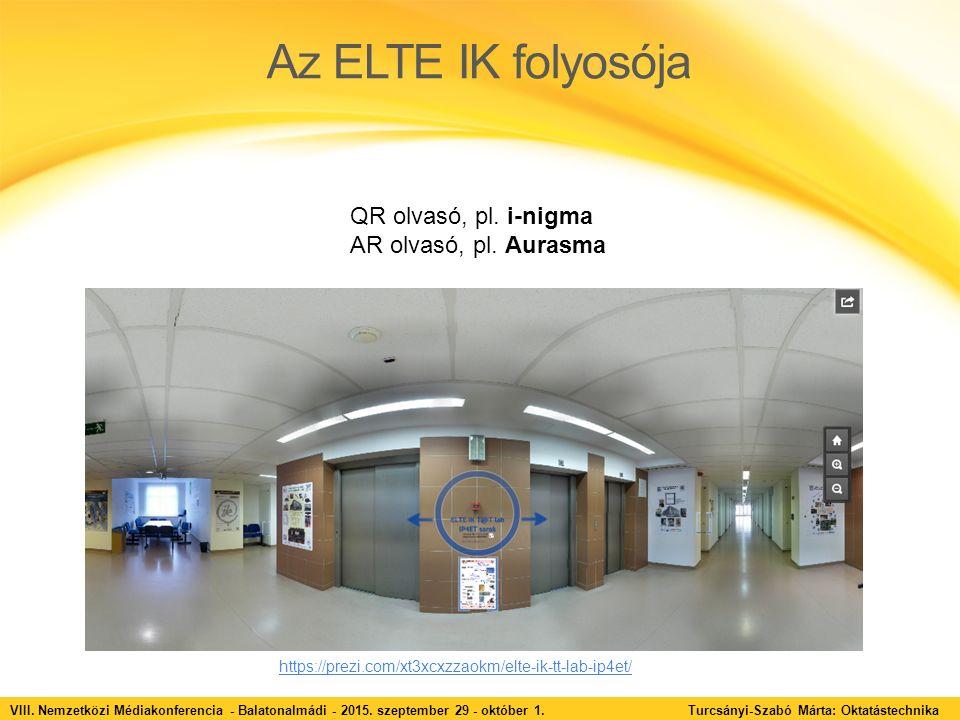 Az ELTE IK folyosója VIII. Nemzetközi Médiakonferencia - Balatonalmádi - 2015. szeptember 29 - október 1. Turcsányi-Szabó Márta: Oktatástechnika QR ol