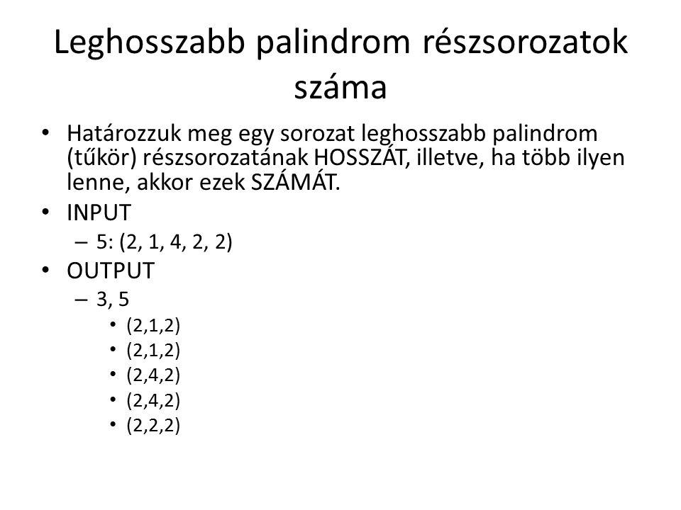 Leghosszabb palindrom részsorozatok száma Határozzuk meg egy sorozat leghosszabb palindrom (tűkör) részsorozatának HOSSZÁT, illetve, ha több ilyen lenne, akkor ezek SZÁMÁT.