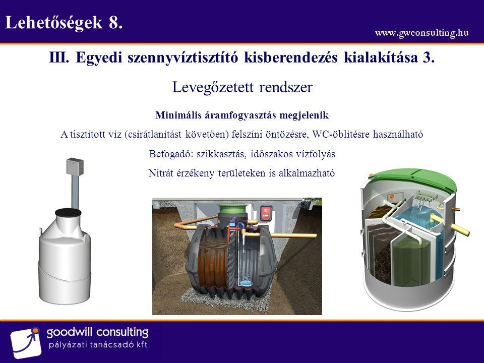 Lehetőségek 8. III. Egyedi szennyvíztisztító kisberendezés kialakítása 3. Levegőzetett rendszer Minimális áramfogyasztás megjelenik A tisztított víz (