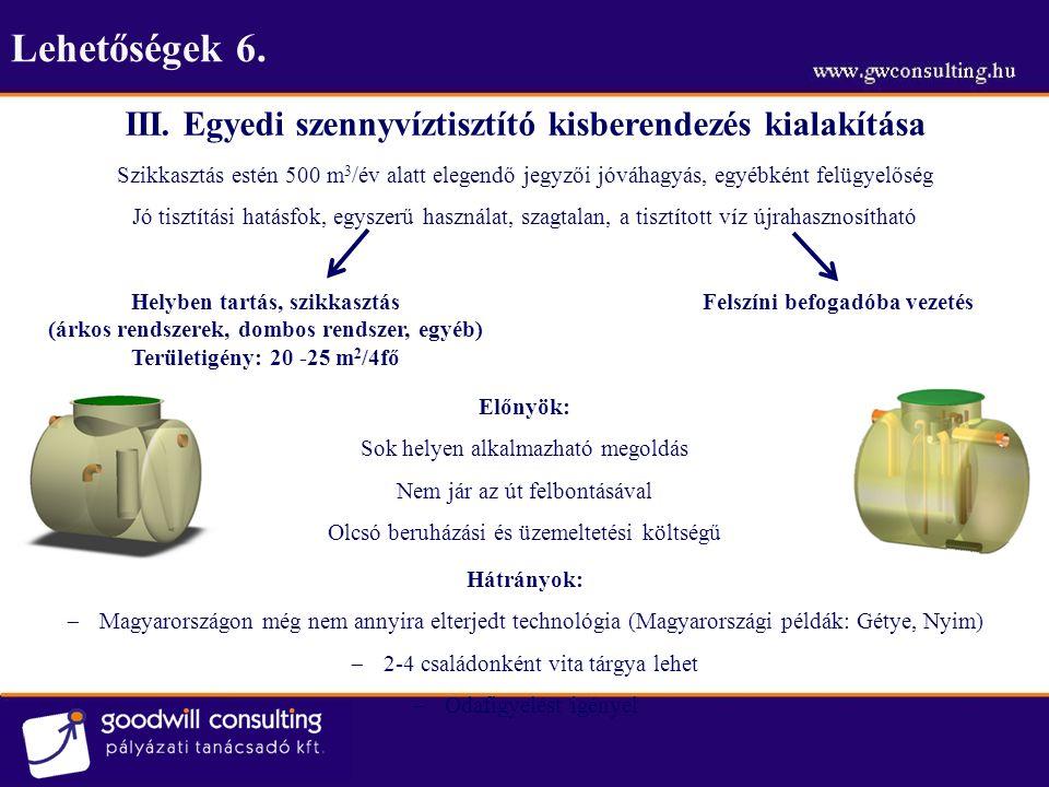 Lehetőségek 7.III. Egyedi szennyvíztisztító kisberendezés kialakítása 2.