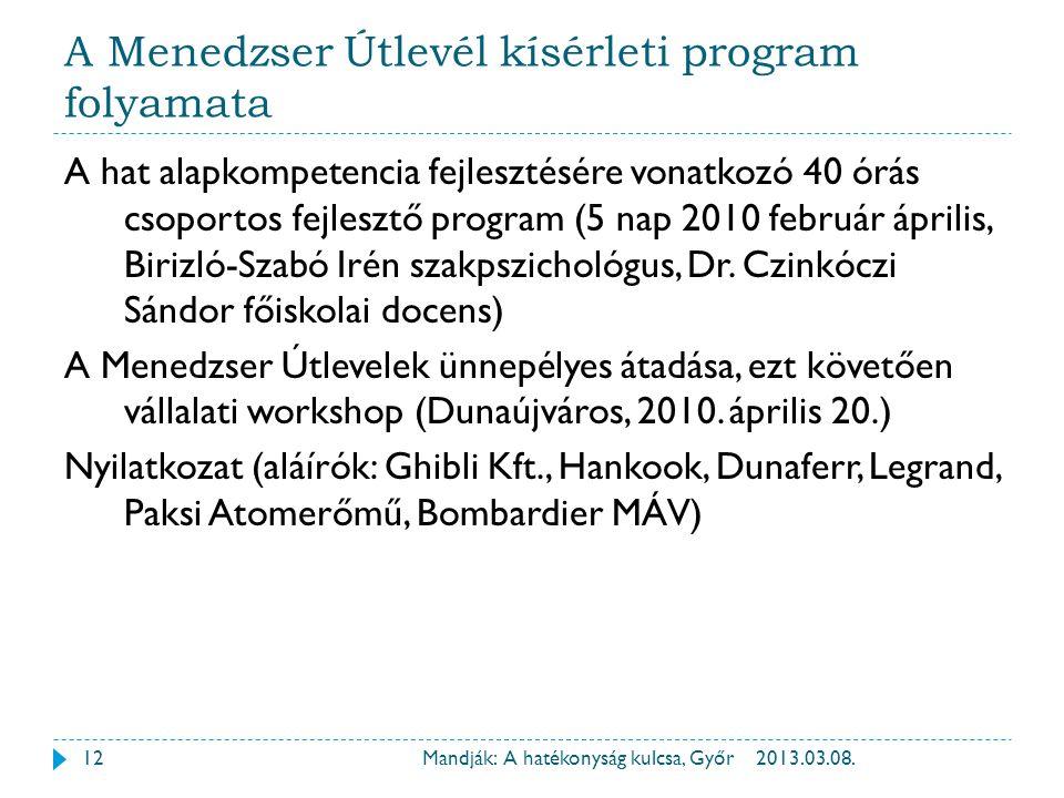 A Menedzser Útlevél kísérleti program folyamata A hat alapkompetencia fejlesztésére vonatkozó 40 órás csoportos fejlesztő program (5 nap 2010 február