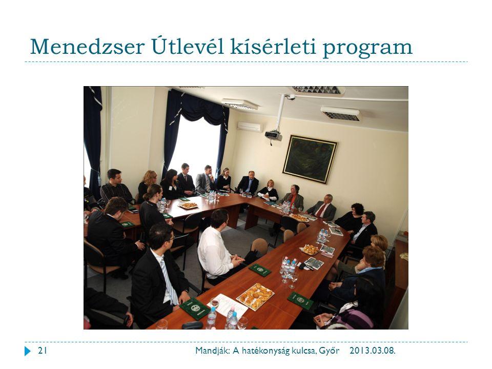 Menedzser Útlevél kísérleti program 2013.03.08.21Mandják: A hatékonyság kulcsa, Győr