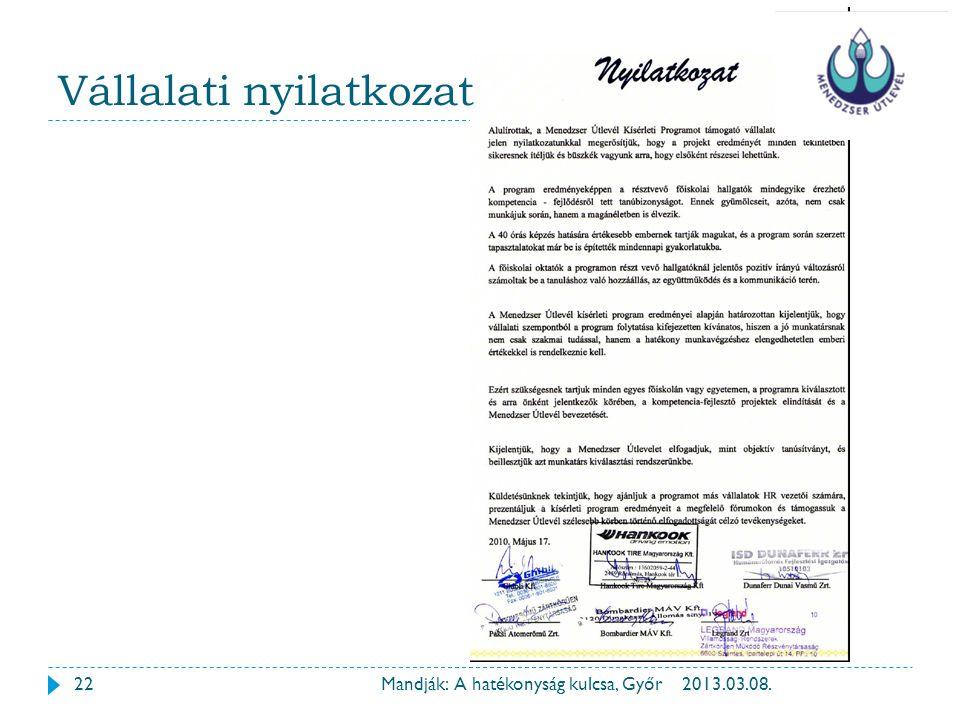 Vállalati nyilatkozat 222013.03.08.Mandják: A hatékonyság kulcsa, Győr