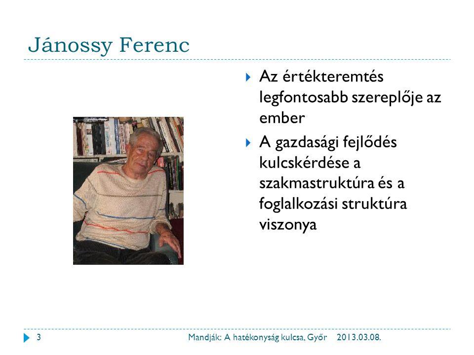 Jánossy Ferenc 2013.03.08.Mandják: A hatékonyság kulcsa, Győr  Az értékteremtés legfontosabb szereplője az ember  A gazdasági fejlődés kulcskérdése