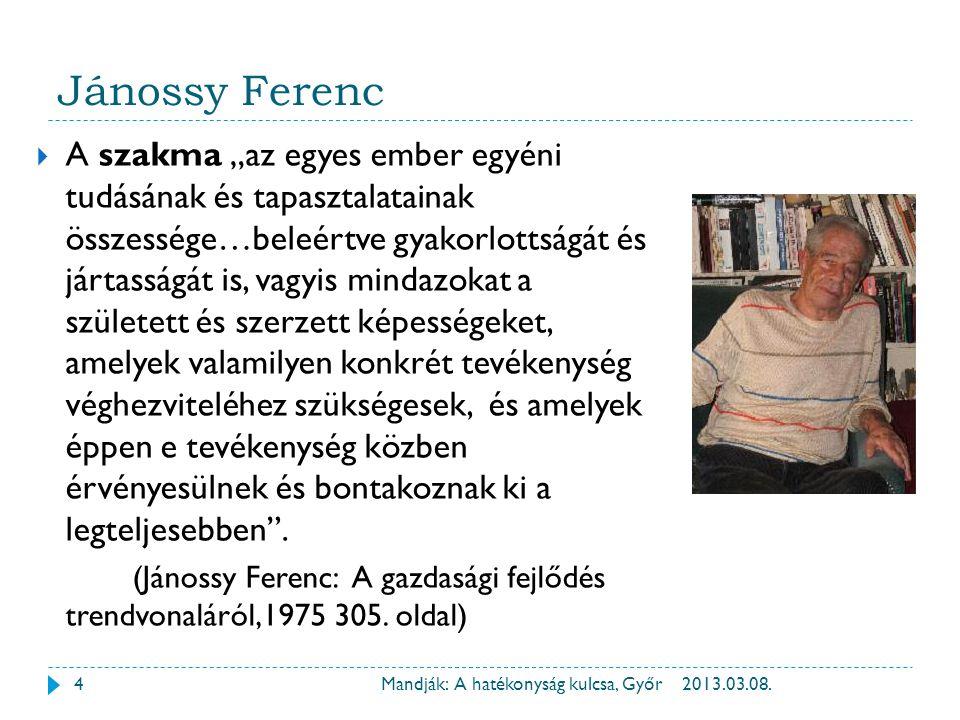 """Jánossy Ferenc 2013.03.08.Mandják: A hatékonyság kulcsa, Győr  A szakma """"az egyes ember egyéni tudásának és tapasztalatainak összessége…beleértve gya"""