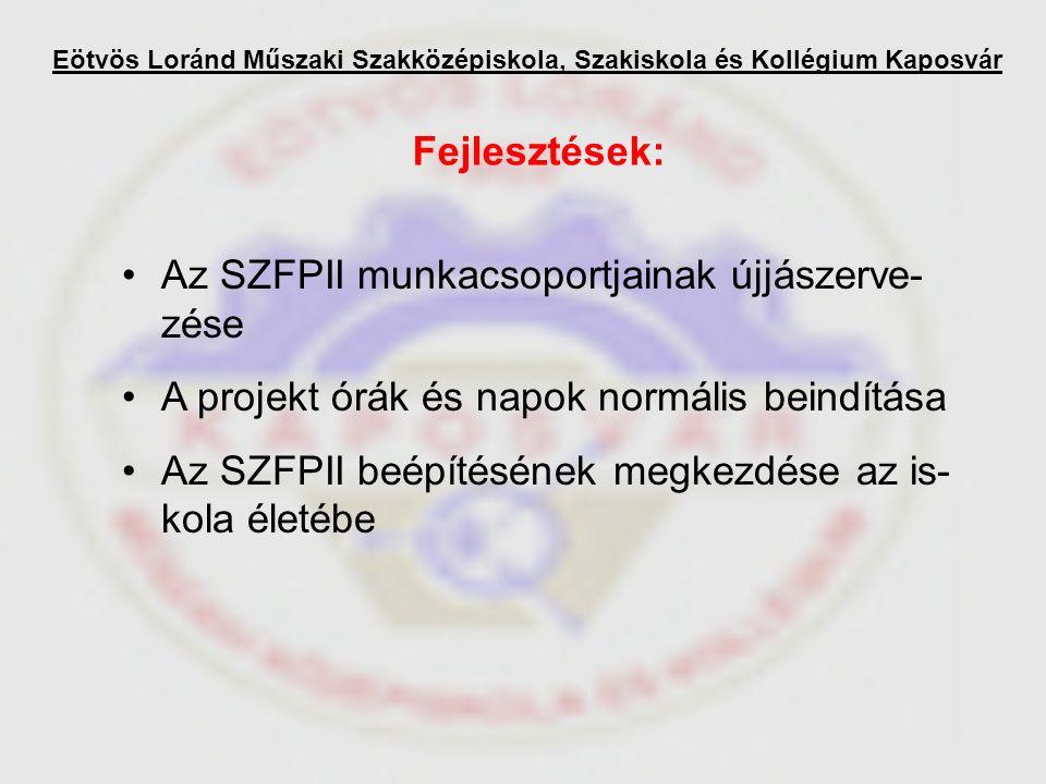 Eötvös Loránd Műszaki Szakközépiskola, Szakiskola és Kollégium Kaposvár Fejlesztések: Az SZFPII munkacsoportjainak újjászerve- zése A projekt órák és napok normális beindítása Az SZFPII beépítésének megkezdése az is- kola életébe