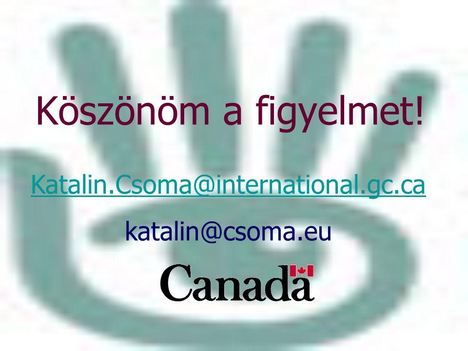 Köszönöm a figyelmet! Katalin.Csoma@international.gc.ca katalin@csoma.eu