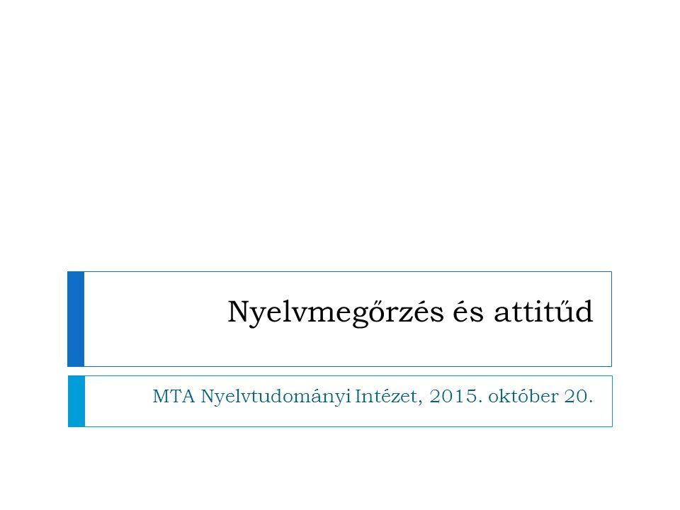 Nyelvmegőrzés és attitűd MTA Nyelvtudományi Intézet, 2015. október 20.