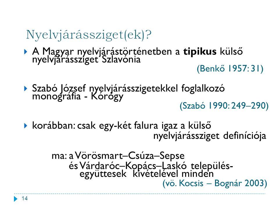  A Magyar nyelvjárástörténetben a tipikus külső nyelvjárássziget Szlavónia (Benkő 1957: 31)  Szabó József nyelvjárásszigetekkel foglalkozó monográfi