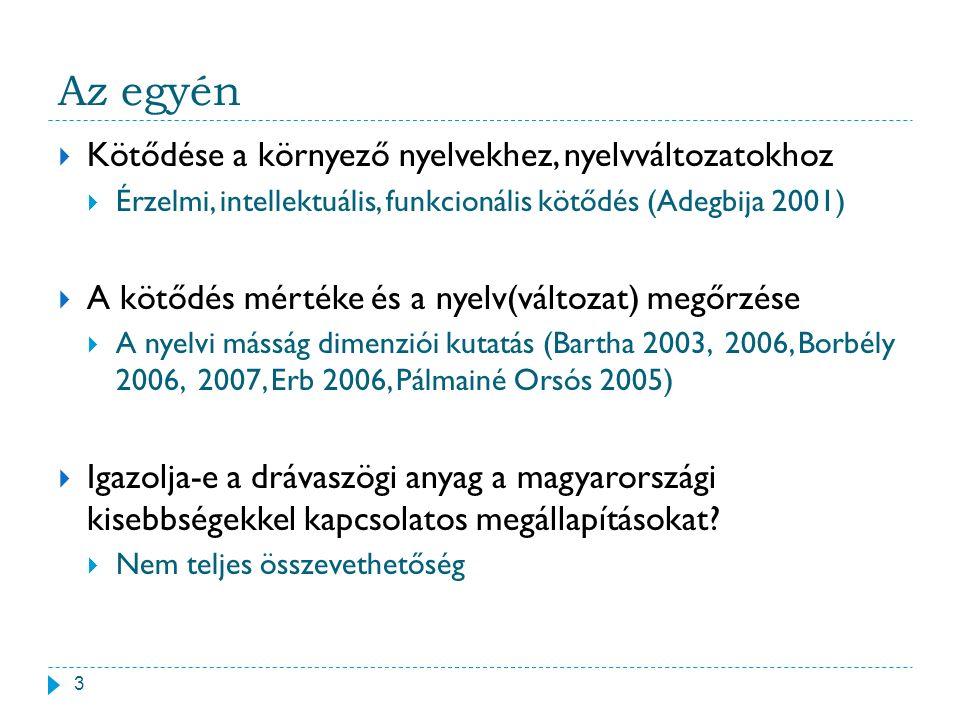 Az egyén 3  Kötődése a környező nyelvekhez, nyelvváltozatokhoz  Érzelmi, intellektuális, funkcionális kötődés (Adegbija 2001)  A kötődés mértéke és
