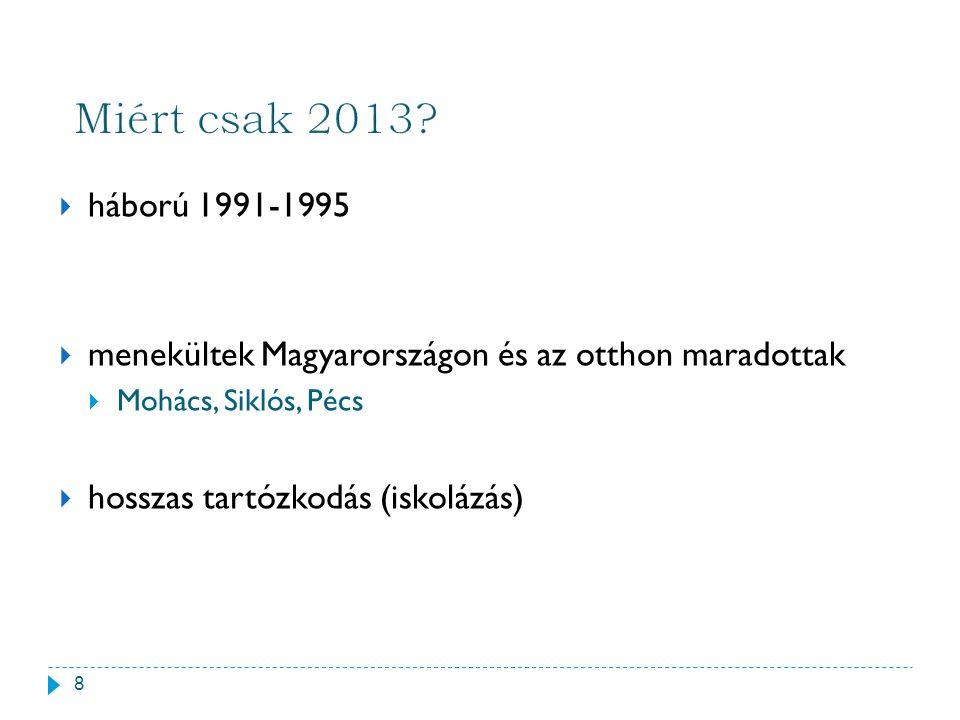  háború 1991-1995  menekültek Magyarországon és az otthon maradottak  Mohács, Siklós, Pécs  hosszas tartózkodás (iskolázás) 8