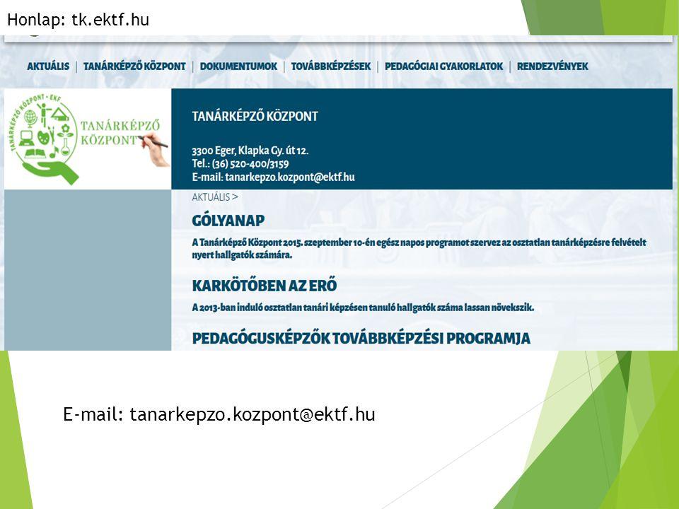 E-mail: tanarkepzo.kozpont@ektf.hu Honlap: tk.ektf.hu