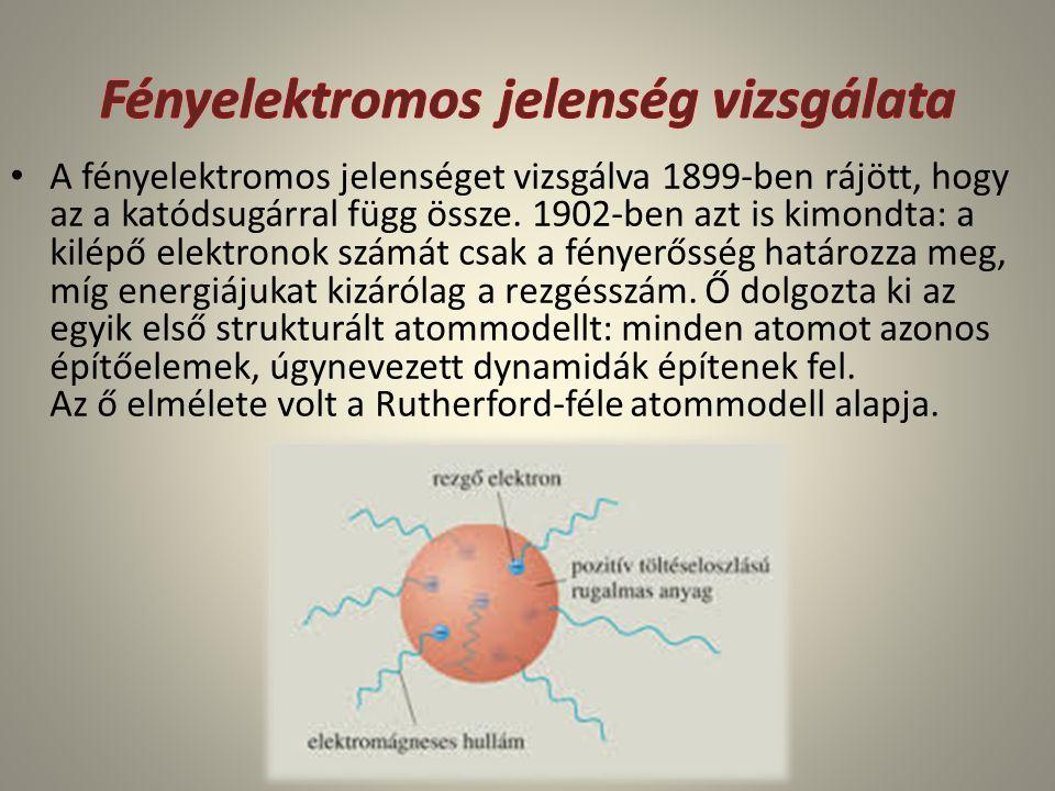 A fényelektromos jelenséget vizsgálva 1899-ben rájött, hogy az a katódsugárral függ össze. 1902-ben azt is kimondta: a kilépő elektronok számát csak a