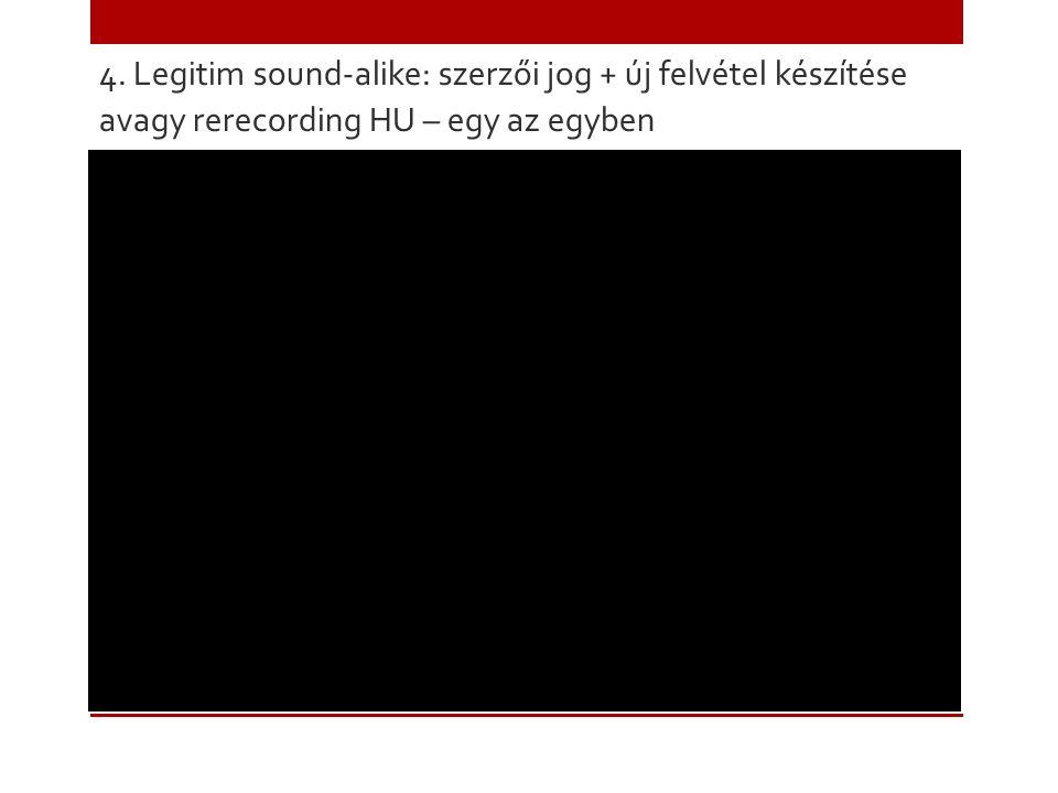 4. Legitim sound-alike: szerzői jog + új felvétel készítése avagy rerecording HU – egy az egyben