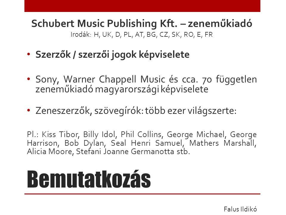 Bemutatkozás Schubert Music Publishing Kft.