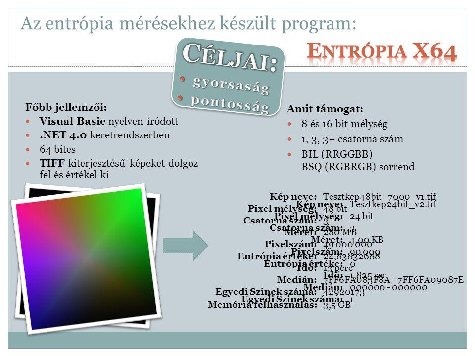 Az entrópia mérésekhez készült program: Főbb jellemzői: Visual Basic nyelven íródott.NET 4.0 keretrendszerben 64 bites TIFF kiterjesztésű képeket dolgoz fel és értékel ki Kép neve:Tesztkep48bit_7000_v1.tif Pixel mélység:48 bit Csatorna szám:3 Méret:280 MB Pixelszám:49 000 000 Entrópia értéke:24,83832688 Idő:13 perc Medián:7FF6FA083F8A - 7FF6FA09087E Egyedi Szinek száma:42920173 Memória felhasználás:3,5 GB Amit támogat: 8 és 16 bit mélység 1, 3, 3+ csatorna szám BIL (RRGGBB) BSQ (RGBRGB) sorrend Kép neve:Tesztkep24bit_v2.tif Pixel mélység:24 bit Csatorna szám:3 Méret:4,00 KB Pixelszám:90 000 Entrópia értéke:0 Idő:1,825 sec Medián:000000 - 000000 Egyedi Szinek száma:1