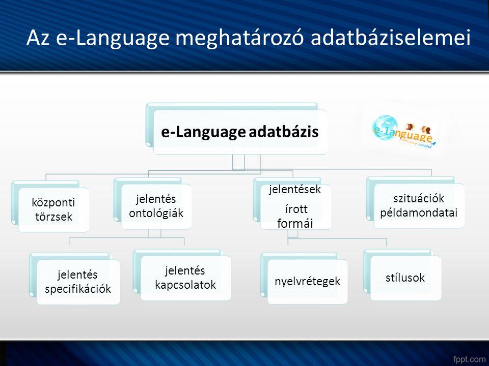 Az e-Language meghatározó adatbáziselemei e-Language adatbázis központi törzsek jelentés ontológiák jelentés specifikációk jelentés kapcsolatok jelentések írott formái nyelvrétegekstílusok szituációk példamondatai