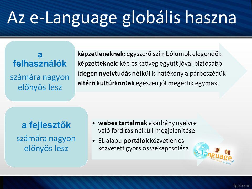 képzetleneknek: egyszerű szimbólumok elegendők képzetteknek: kép és szöveg együtt jóval biztosabb idegen nyelvtudás nélkül is hatékony a párbeszédük eltérő kultúrkörűek egészen jól megértik egymást a felhasználók számára nagyon előnyös lesz webes tartalmak akárhány nyelvre való fordítás nélküli megjelenítése EL alapú portálok közvetlen és közvetett gyors összekapcsolása a fejlesztők számára nagyon előnyös lesz Az e-Language globális haszna
