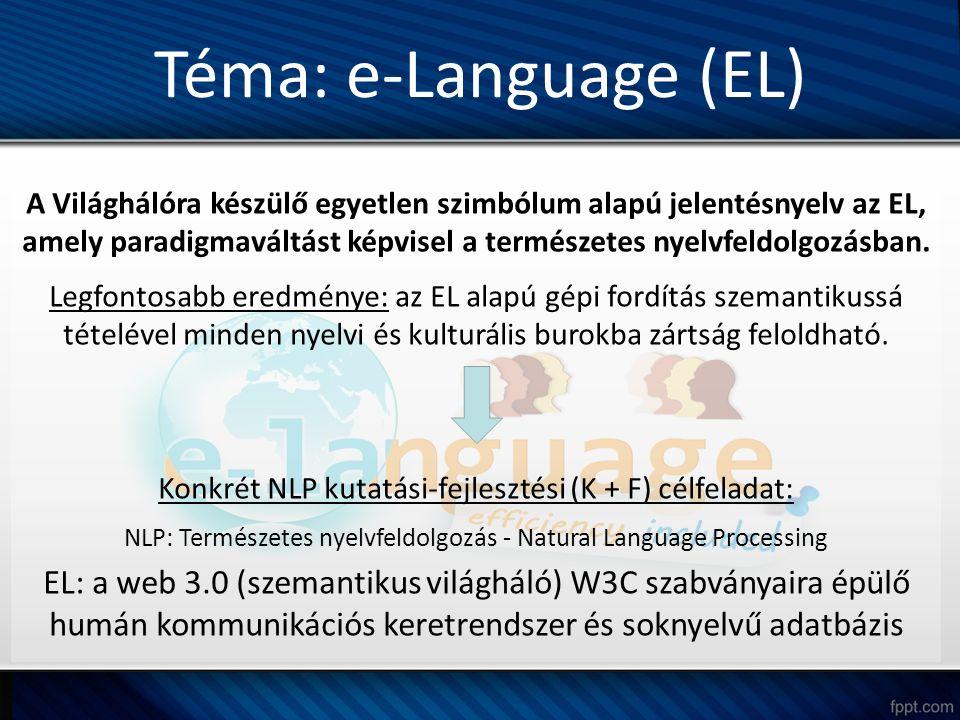 Téma: e-Language (EL) A Világhálóra készülő egyetlen szimbólum alapú jelentésnyelv az EL, amely paradigmaváltást képvisel a természetes nyelvfeldolgozásban.