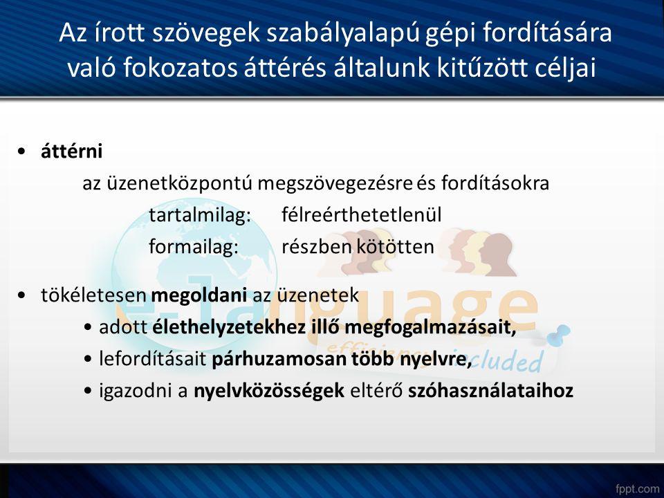 Az írott szövegek szabályalapú gépi fordítására való fokozatos áttérés általunk kitűzött céljai áttérni az üzenetközpontú megszövegezésre és fordításo