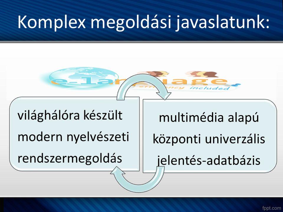 Komplex megoldási javaslatunk: világhálóra készült modern nyelvészeti rendszermegoldás multimédia alapú központi univerzális jelentés-adatbázis