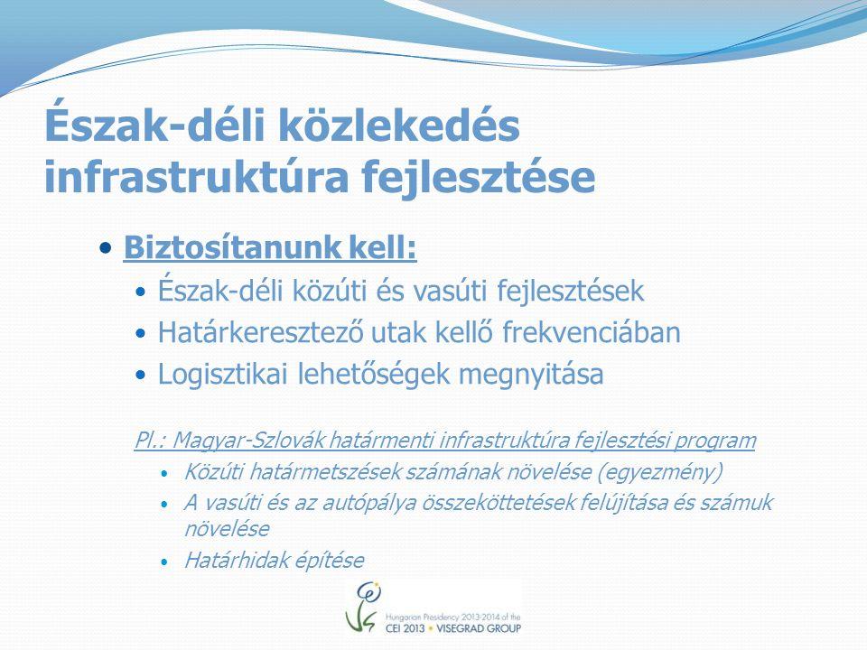 Észak-déli közlekedés infrastruktúra fejlesztése Biztosítanunk kell: Észak-déli közúti és vasúti fejlesztések Határkeresztező utak kellő frekvenciában Logisztikai lehetőségek megnyitása Pl.: Magyar-Szlovák határmenti infrastruktúra fejlesztési program Közúti határmetszések számának növelése (egyezmény) A vasúti és az autópálya összeköttetések felújítása és számuk növelése Határhidak építése