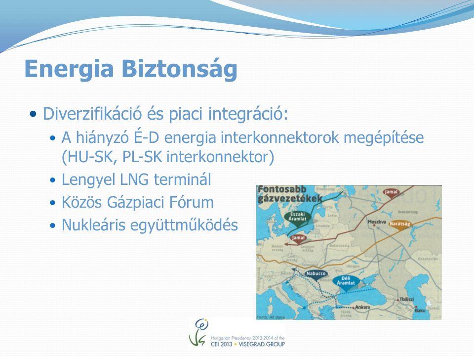 Energia Biztonság Diverzifikáció és piaci integráció: A hiányzó É-D energia interkonnektorok megépítése (HU-SK, PL-SK interkonnektor) Lengyel LNG terminál Közös Gázpiaci Fórum Nukleáris együttműködés