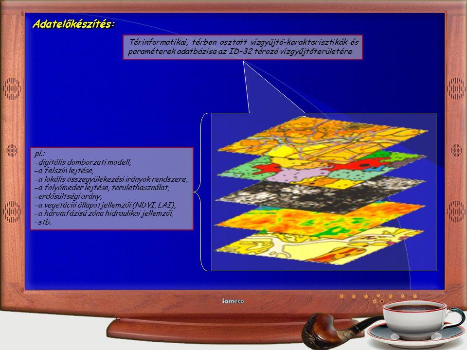 Adatelőkészítés: Térinformatikai, térben osztott vízgyűjtő-karakterisztikák és paraméterek adatbázisa az ID-32 tározó vízgyűjtőterületére pl.: – digitális domborzati modell, – a felszín lejtése, – a lokális összegyülekezési irányok rendszere, – a folyómeder lejtése, területhasználat, – erdősültségi arány, – a vegetáció állapotjellemzői (NDVI, LAI), – a háromfázisú zóna hidraulikai jellemzői, – stb.