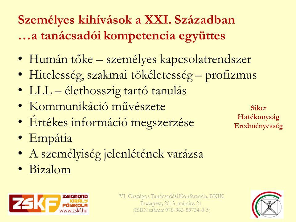 Személyes kihívások a XXI. Században …a tanácsadói kompetencia együttes VI.