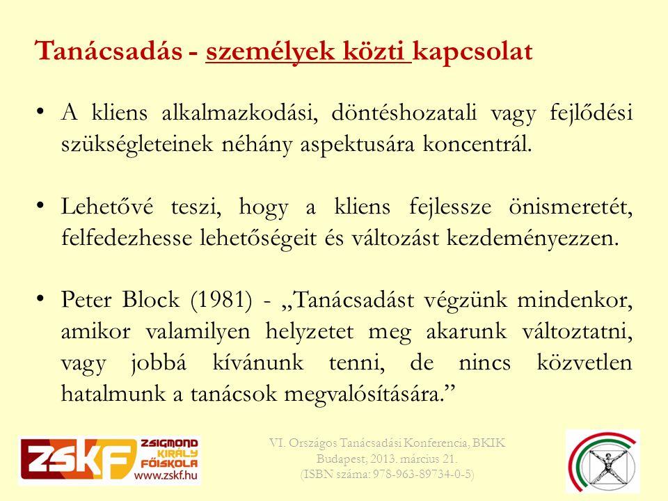 Tanácsadás - személyek közti kapcsolat VI. Országos Tanácsadási Konferencia, BKIK Budapest, 2013.