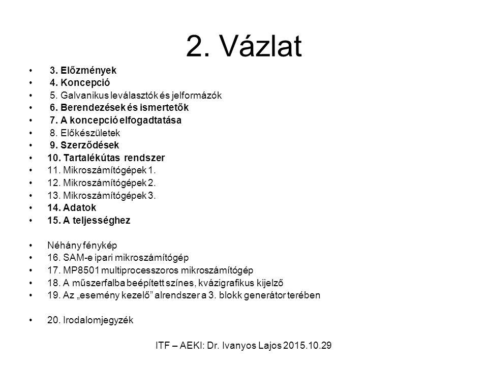2. Vázlat 3. Előzmények 4. Koncepció 5. Galvanikus leválasztók és jelformázók 6.