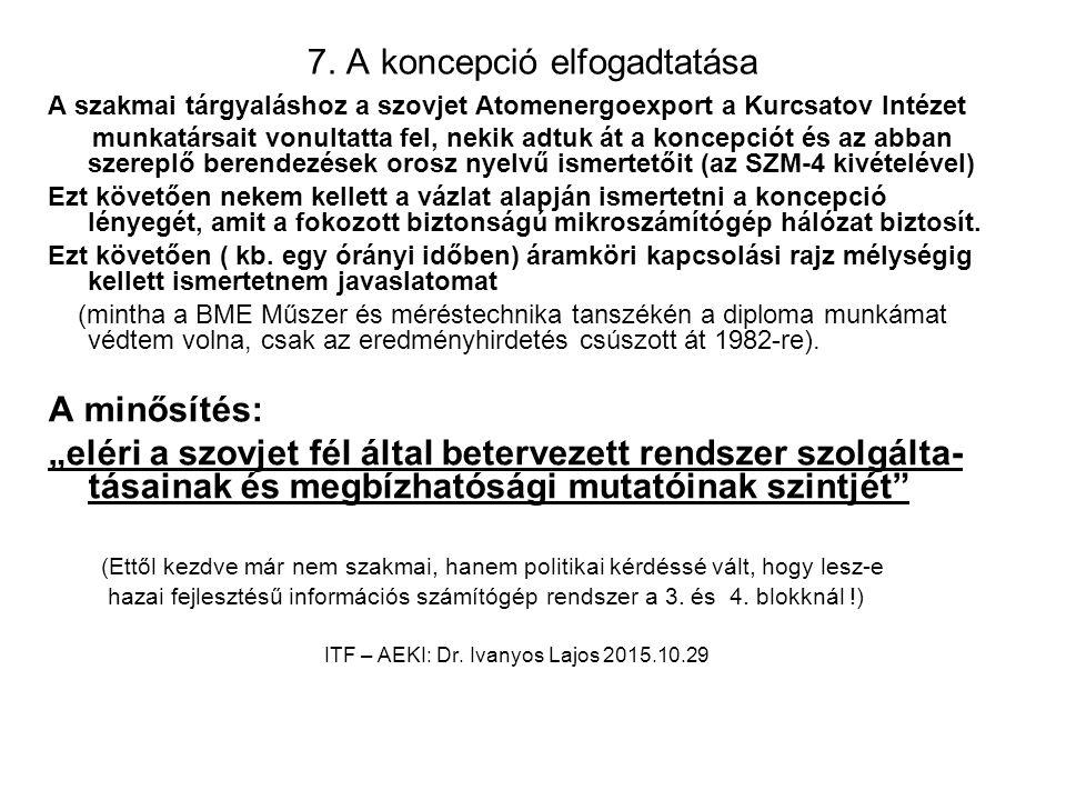 7. A koncepció elfogadtatása A szakmai tárgyaláshoz a szovjet Atomenergoexport a Kurcsatov Intézet munkatársait vonultatta fel, nekik adtuk át a konce