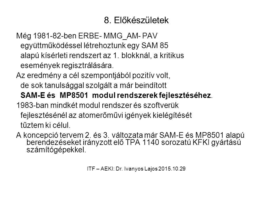 8. Előkészületek Még 1981-82-ben ERBE- MMG_AM- PAV együttműködéssel létrehoztunk egy SAM 85 alapú kísérleti rendszert az 1. blokknál, a kritikus esemé