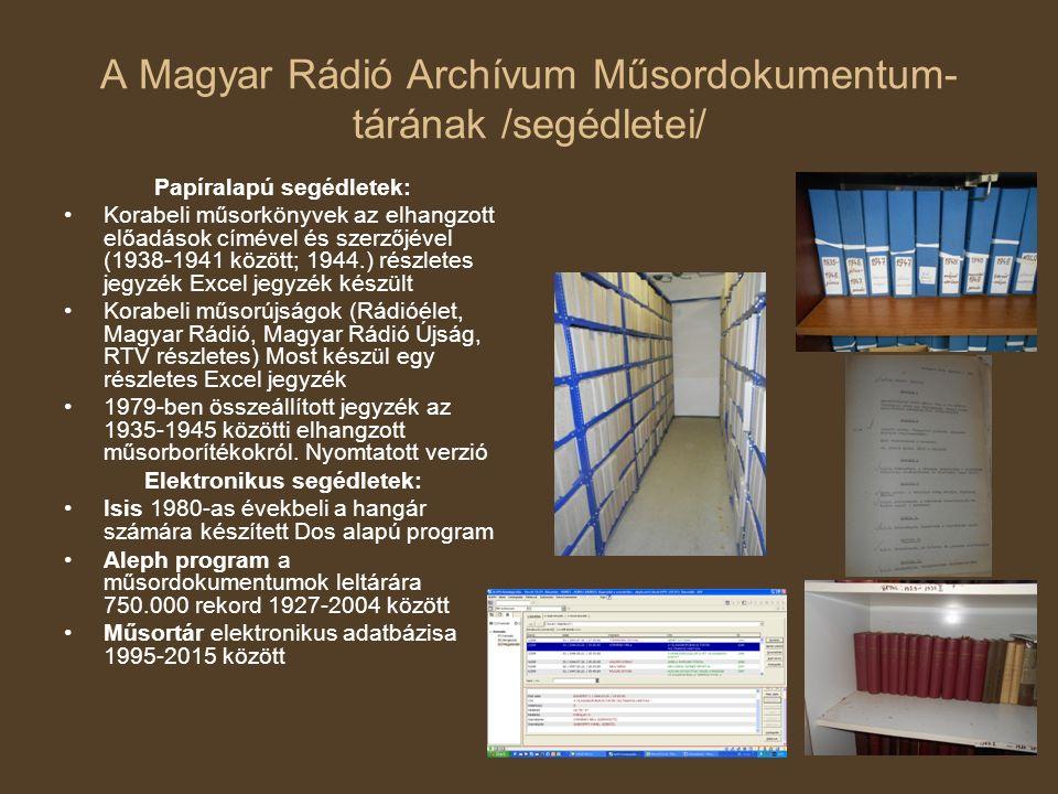 A Magyar Rádió Archívum Műsordokumentum- tárának /segédletei/ Papíralapú segédletek: Korabeli műsorkönyvek az elhangzott előadások címével és szerzőjé