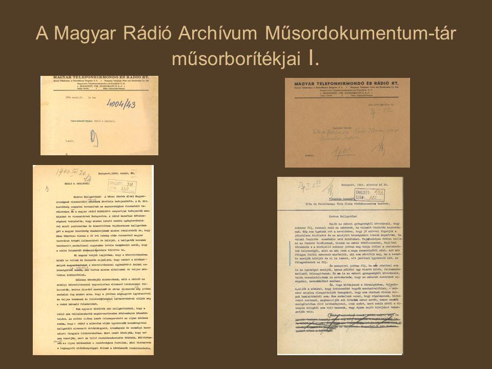 A Magyar Rádió Archívum Műsordokumentum-tár műsorborítékjai I.