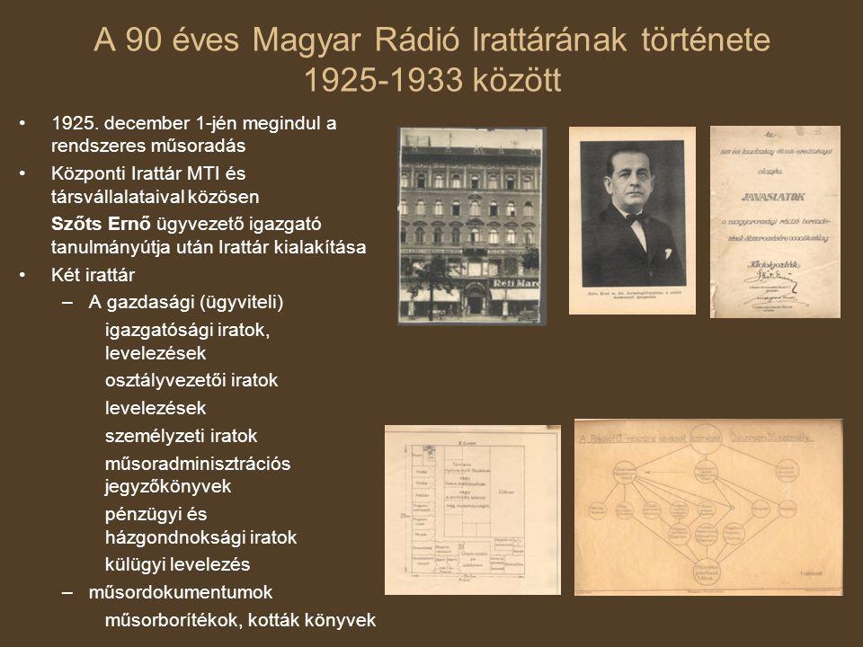 A 90 éves Magyar Rádió Irattárának története 1925-1933 között 1925. december 1-jén megindul a rendszeres műsoradás Központi Irattár MTI és társvállala