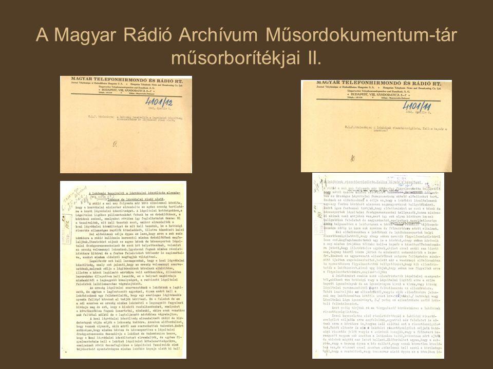 A Magyar Rádió Archívum Műsordokumentum-tár műsorborítékjai II.