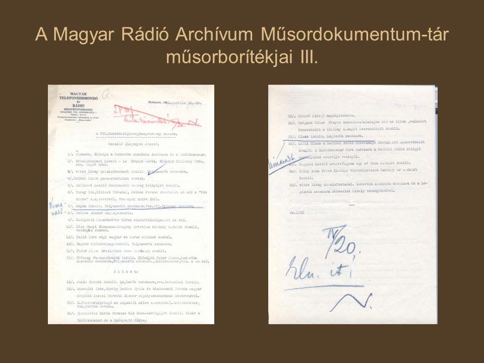 A Magyar Rádió Archívum Műsordokumentum-tár műsorborítékjai III.