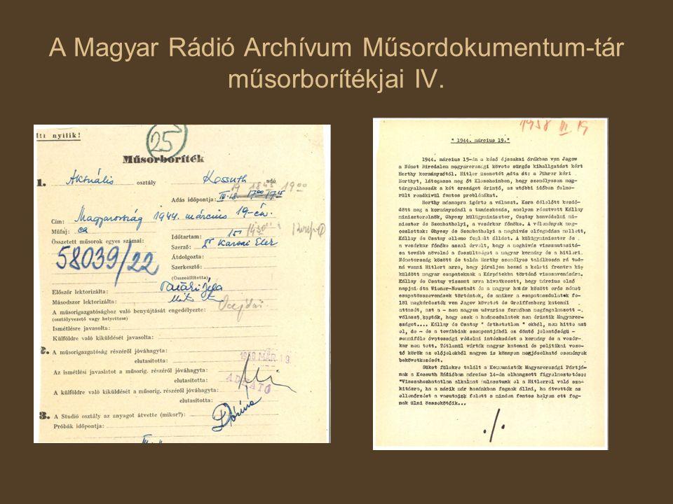 A Magyar Rádió Archívum Műsordokumentum-tár műsorborítékjai IV.