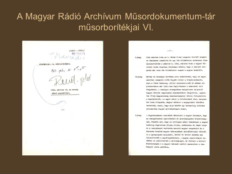 A Magyar Rádió Archívum Műsordokumentum-tár műsorborítékjai VI.