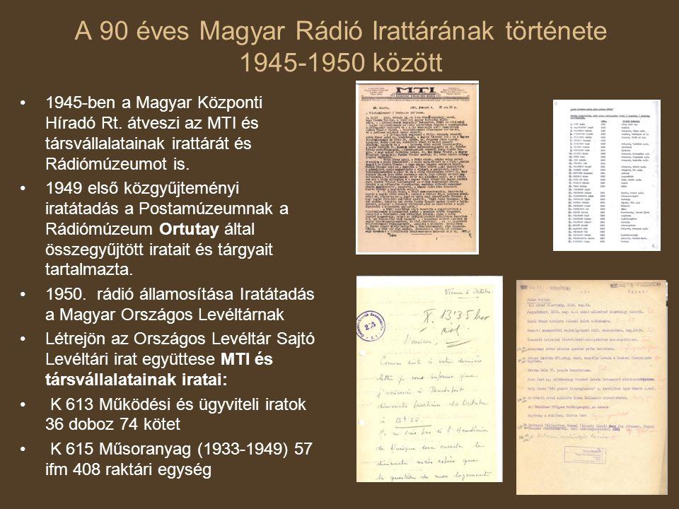 A 90 éves Magyar Rádió Irattárának története 1945-1950 között 1945-ben a Magyar Központi Híradó Rt. átveszi az MTI és társvállalatainak irattárát és R