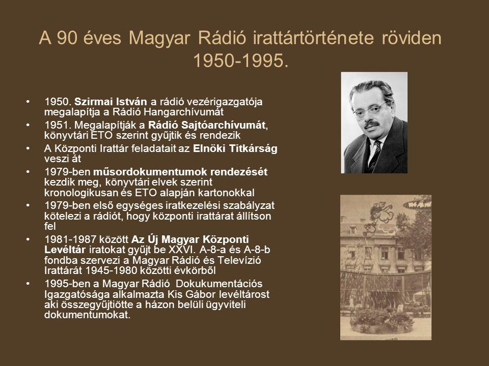 A 90 éves Magyar Rádió irattártörténete röviden 1950-1995. 1950. Szirmai István a rádió vezérigazgatója megalapítja a Rádió Hangarchívumát 1951. Megal