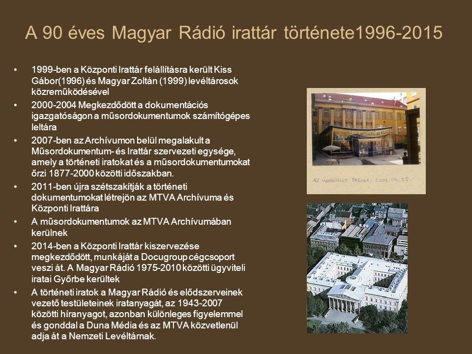 A 90 éves Magyar Rádió irattár története1996-2015 1999-ben a Központi Irattár felállításra került Kiss Gábor(1996) és Magyar Zoltán (1999) levéltároso