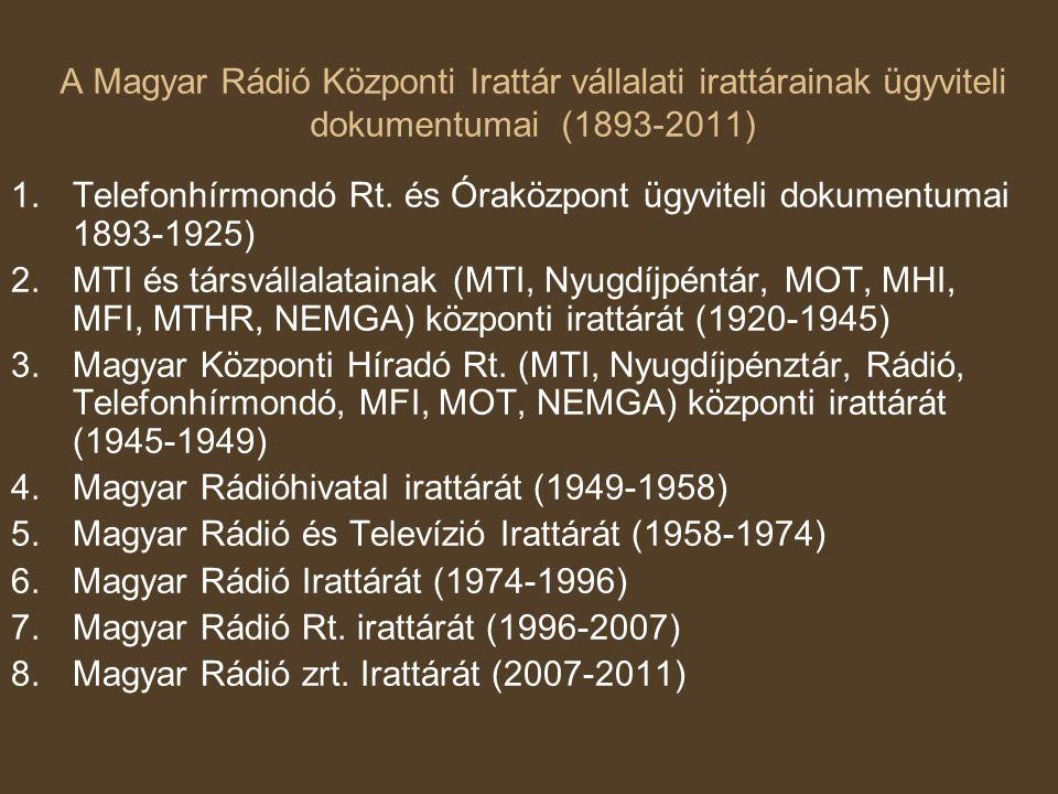 A Magyar Rádió Központi Irattár vállalati irattárainak ügyviteli dokumentumai (1893-2011) 1.Telefonhírmondó Rt.