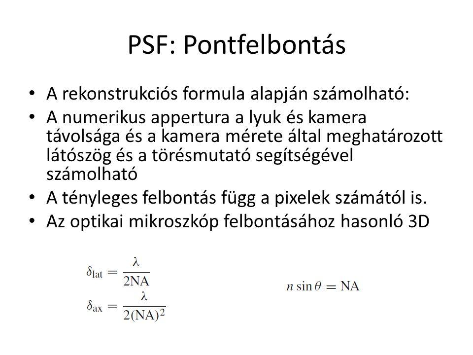 PSF: Pontfelbontás A rekonstrukciós formula alapján számolható: A numerikus appertura a lyuk és kamera távolsága és a kamera mérete által meghatározott látószög és a törésmutató segítségével számolható A tényleges felbontás függ a pixelek számától is.