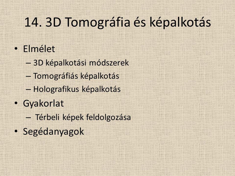 14. 3D Tomográfia és képalkotás Elmélet – 3D képalkotási módszerek – Tomográfiás képalkotás – Holografikus képalkotás Gyakorlat – Térbeli képek feldol