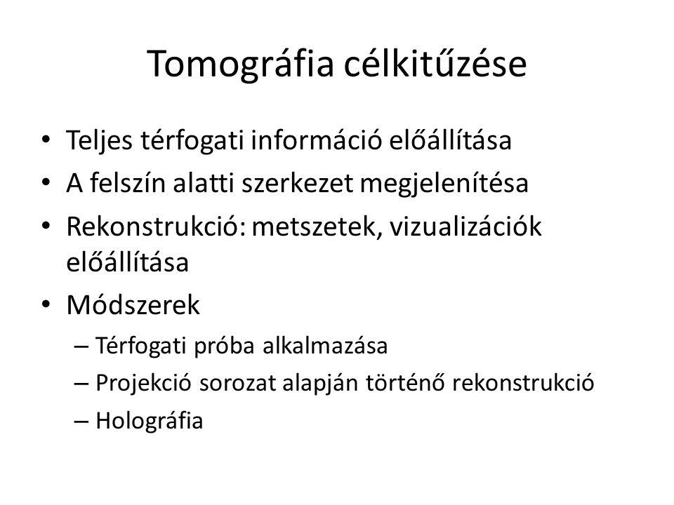 Tomográfia célkitűzése Teljes térfogati információ előállítása A felszín alatti szerkezet megjelenítésa Rekonstrukció: metszetek, vizualizációk előállítása Módszerek – Térfogati próba alkalmazása – Projekció sorozat alapján történő rekonstrukció – Holográfia