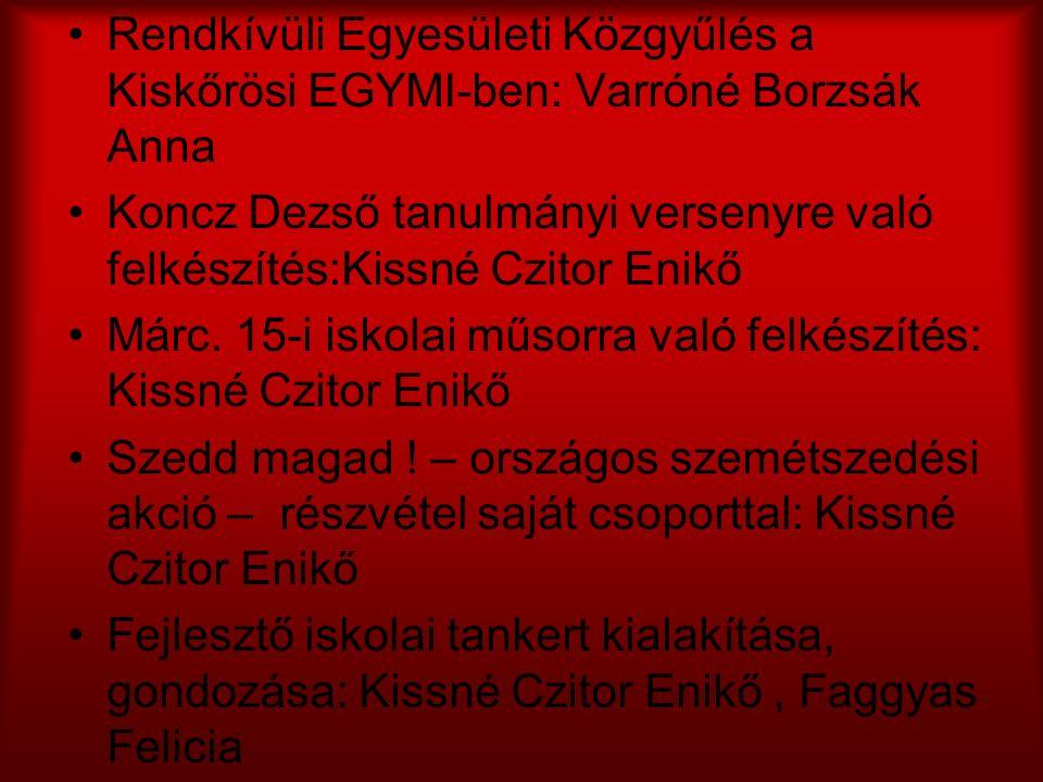 Rendkívüli Egyesületi Közgyűlés a Kiskőrösi EGYMI-ben: Varróné Borzsák Anna Koncz Dezső tanulmányi versenyre való felkészítés:Kissné Czitor Enikő Márc